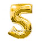 Цифра 5 золотая шар с гелием