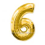 Цифра 6 золотая шар с гелием