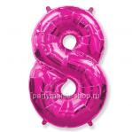 Цифра 8 фуксия шар с гелием