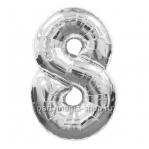 Цифра 8 серебряная шар с гелием
