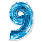 Цифра 9 синяя шар с гелием