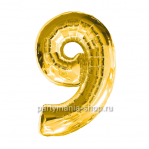 Цифра 9 золотая шар с гелием