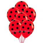 Красные шары в черный горошек с гелием
