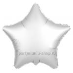 Фольгированная звезда белая жемчужный сатин с гелием 46 см