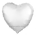 Фольгированное сердце белое жемчужный сатин с гелием 46 см