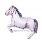Лошадка белая фигурный шар с гелием