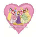Принцессы Дисней шар в форме сердца с гелием металл