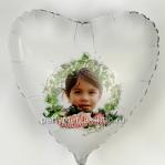 Фото на шаре, белое матовое сердце
