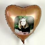 Шар с фото, сердце розовое золото сатин