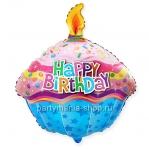 Шар в виде кекса со свечкой «Happy Birthday»