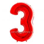 Цифра 3 красная с гелием