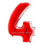 Цифра 4 красная с гелием