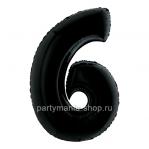 Цифра 6 черная с гелием