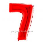 Цифра 7 красная с гелием
