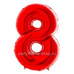 Цифра 8 красная шар с гелием