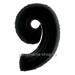 Цифра 9 черная шар с гелием
