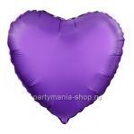 Фольгированное сердце фиолетовое сатин с гелием 46 см