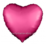 Фольгированный шар сердце гранатовый сатин с гелием 46 см