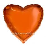Фольгированное сердце оранжевое с гелием 46 см