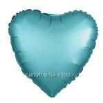 Фольгированное сердце тиффани сатин с гелием 46 см