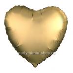 Фольгированное сердце золотое сатин с гелием 46 см