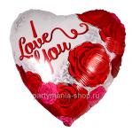 Фольгированное Сердце «I love you с розами» 46 см