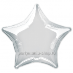 Фольгированная звезда серебристая с гелием 46 см