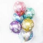 «Снежинки» шары ассорти хром